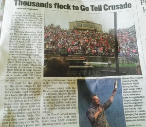 Local newspaper article about the GO TELL Crusade